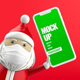 Kerstman houdt smartphone-mockup 3d-rendering mockup