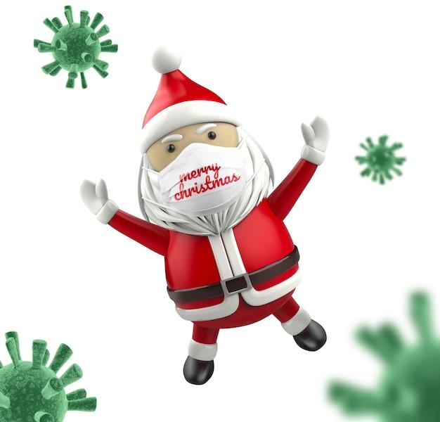 Kerstman met gezichtsmasker mockup
