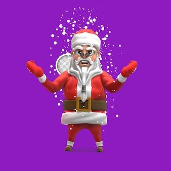 Kerstman met sneeuw. 3d-rendering