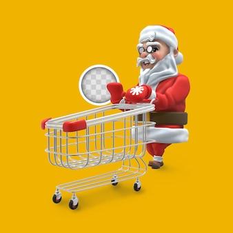 Kerstman met winkelwagen. 3d-rendering.