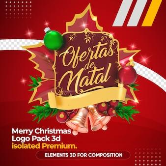 Kerstmis biedt logo in 3d-rendering mockup