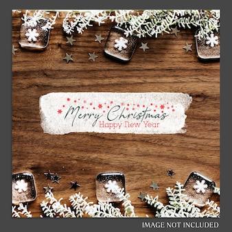 Kerstmis en gelukkig nieuwjaar 2019 foto mockup en instagram post sjabloon voor sociale medi