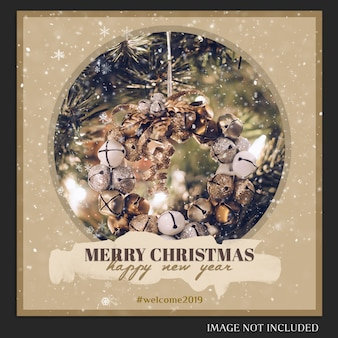 Kerstmis en gelukkig nieuwjaar 2019 fotomodel en instagram-bericht