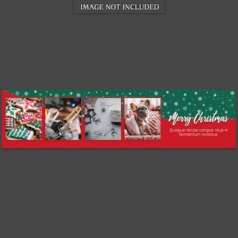 Kerstmis en gelukkig nieuwjaar sjabloon voor spandoek en foto mockup