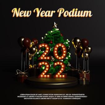 Kerstmis nieuwjaar luxe neon podium