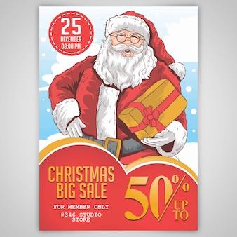 Kerstmis santa claus grote verkoopsjabloon