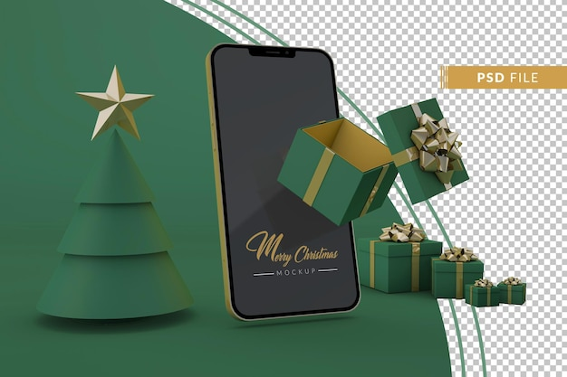 Kerstmodel met gouden iphone en kerstcadeaus in een groene omgeving