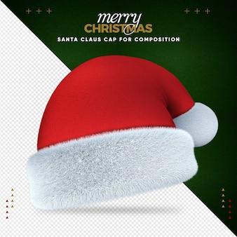 Kerstmuts 3d vrolijk kerstfeest voor compositie
