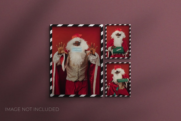 Kerstpapier fotolijst mockup premium psd
