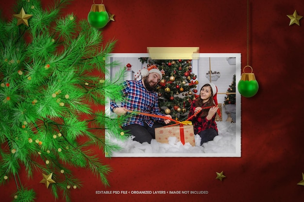 Kerstpapier fotolijstmodel met gescheurd papier en schaduwoverlay
