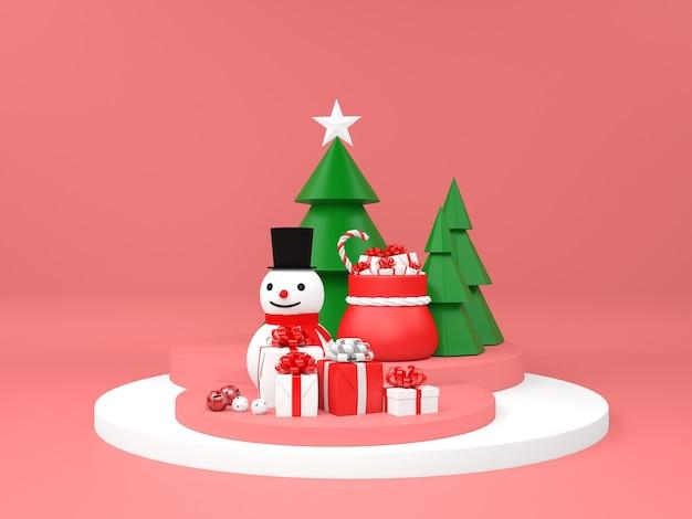 Kerstpodium met sneeuwpopvoetstuk en geschenken