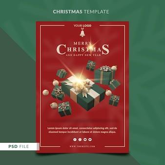 Kerstpostersjabloon met 3d-geschenkdoos en kerstballen