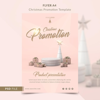Kerstpromotie voor productpresentatie flyer a4 sjabloon