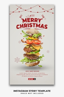 Kerstsjabloon social media verhalen voor restaurant fastfood menu hamburger