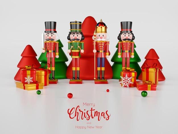 Kerstthema van een notenkraker met kerstversieringen, 3d illustratie