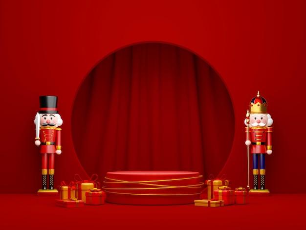 Kerstthema van geometrisch podium voor product met notenkraker, 3d illustratie