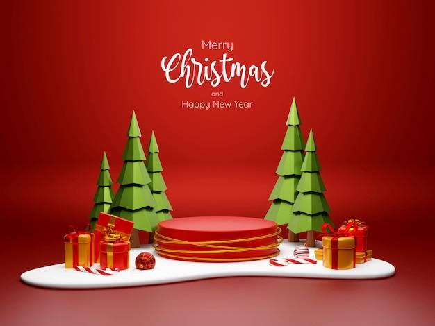 Kerstthema van podium met kerstcadeau op sneeuwgrond, 3d illustratie