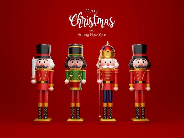 Kerstthema van set van notenkraker op rode achtergrond, 3d illustratie