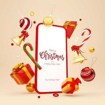 Kerstthema van smartphone met kerstversieringen, 3d illustratie