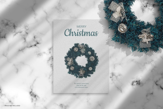 Kerstvakantie groet ontwerp mockup ontwerpweergave