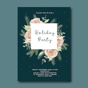 Kerstvakantie uitnodigingskaart met aquarel bloemen