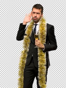 Kerstvakanties. mens die met champagne nieuw jaar 2019 viert