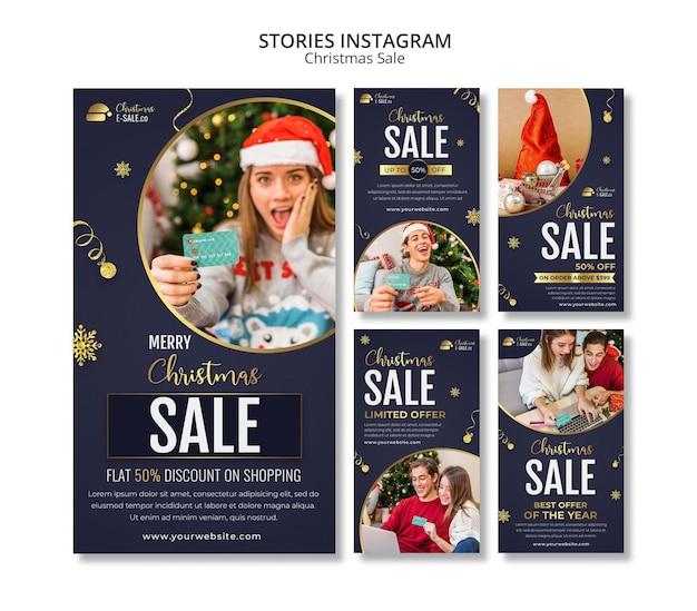 Kerstverkoop ig verhalen met gouden details