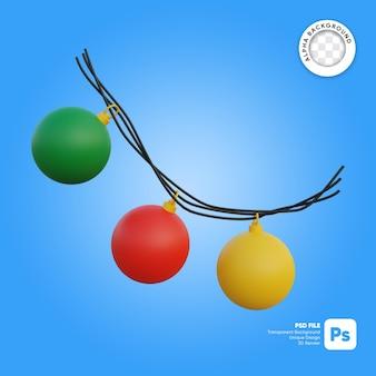 Kerstverlichting ball cartoon 3d-object