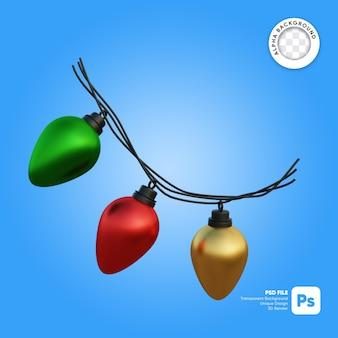 Kerstverlichting gloeilamp glanzend 3d-object