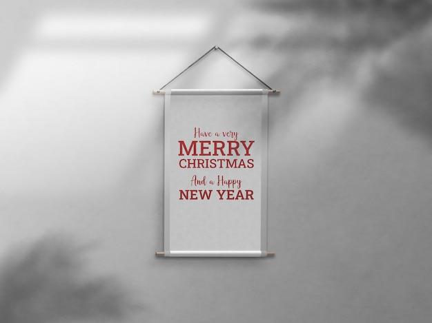 Kerstviering muur framing slagschaduw mockup