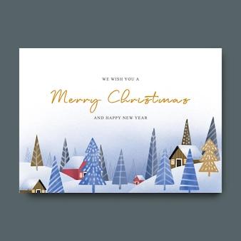Kerstwenskaart met aquarel landschap illustratie decoratie