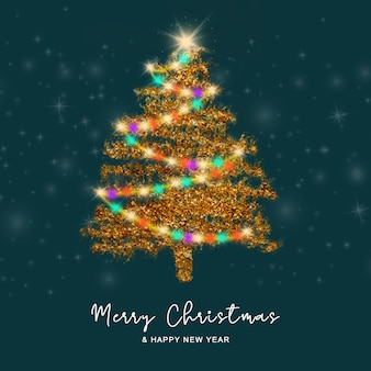 Kerstwenskaart met gouden kerstboomachtergrond