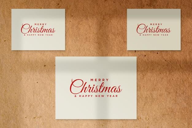Kerstwenskaart mockup psd met schaduw