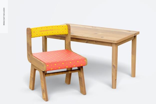 Kid houten stoel met bureaumodel