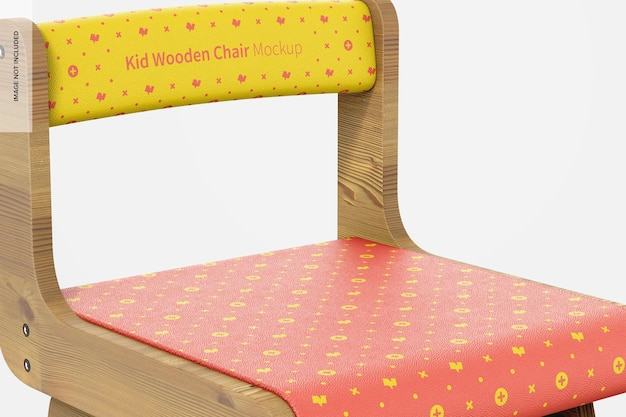 Kid houten stoel mockup, close-up