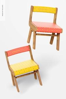 Kid houten stoelen mockup, drijvend