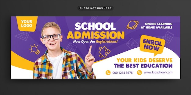 Kid school toelating facebook tijdlijn cover & webbanner
