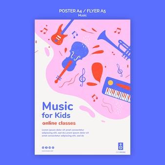 Kids muziek platform poster sjabloon