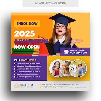 Kids school onderwijs toelating sociale media banner en vierkante flyer-sjabloon