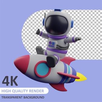 Kindastronaut op een raket 3d-weergave van karaktermodellering