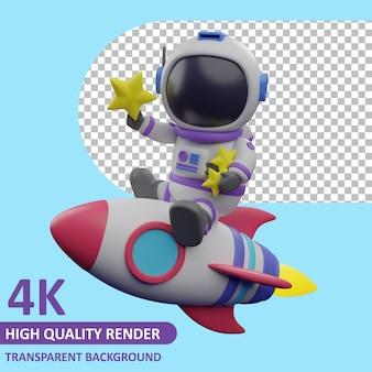 Kindastronaut op een raket met een ster 3d-weergave van karaktermodellering