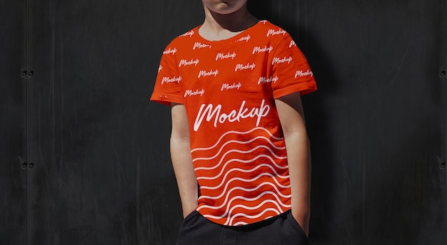 Kinder t-shirt mockup orange
