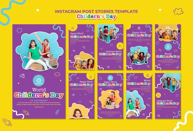 Kinderdag instagram verhalen sjabloon