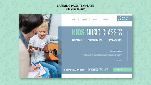 Kinderen muzieklessen concept bestemmingspagina sjabloon