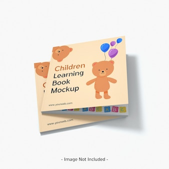 Kinderen papieren tijdschrift speelgoed leren boek mockup