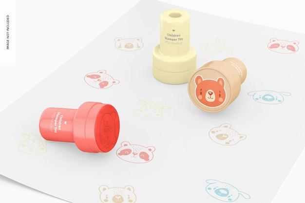 Kinderen stamper toys mockup, perspectief