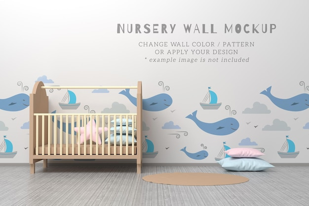 Kinderkamer interieur bewerkbare psd-mockup met bewerkbaar muurpatroon, wieg, kussens en tapijt.