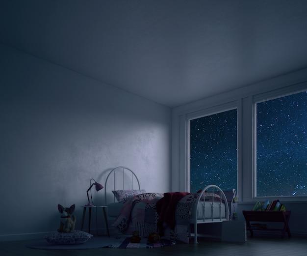 Kinderkamer met bed en speelgoed 's nachts