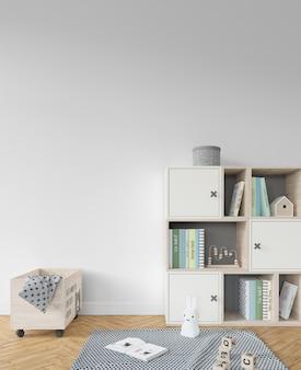 Kinderkamer met boekenplank en speelgoed