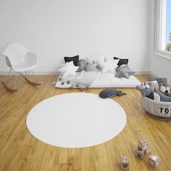 Kinderkamer met een bank en tapijt op houten vloer